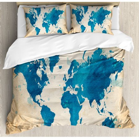 Map King Size Duvet Cover Set  Artistic Vintage World Map With Watercolor Brushstrokes On Old Backdrop Print  Decorative 3 Piece Bedding Set With 2 Pillow Shams  Navy Blue Sand Brown  By Ambesonne