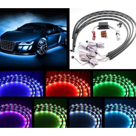 - 7 Color 4pcs LED Strip Under Car Tube underglow Underbody System Neon Lights Kit (90cmX120cm)