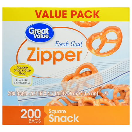 2 Pack Great Value Zipper Square Snack Bags 200 Count