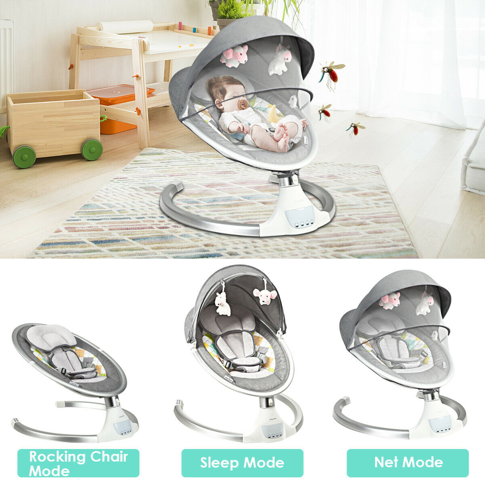 Bluetooth USB Music Play 10 Soft Melodies and Timing Function Mosquito Net GYMAX Electric Baby Rocker with 5 Swinging Amplitudes Electrical Baby Swing Infant Bouncer