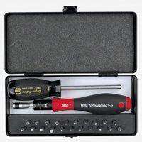Wiha 28590 24 Piece Torque ScrewDriver, Micro Bits and Handle Box Set 5-18 in-lbs.