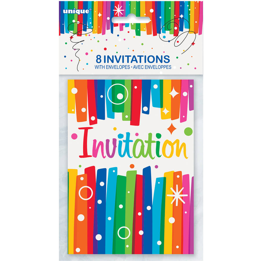 Rainbow Birthday Party Invitations, 8-Count