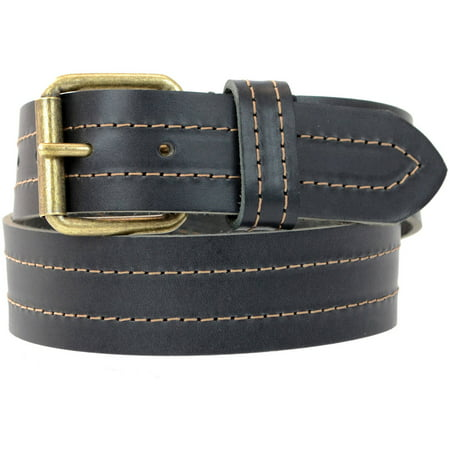 1-1/2 in. US Steer Hide Leather Double Stitch Men's Belt with Antique Brass Finish Roller Buckle