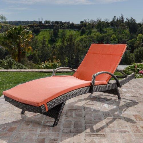 Brayden Studio Hans Cagliari  Adjustable Wicker Chaise Lounge with Cushion