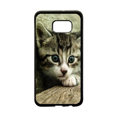 Kitty Cat Design Protective Black Rubber Phone Case Cover That Is Compatible with the Samsung Galaxy
