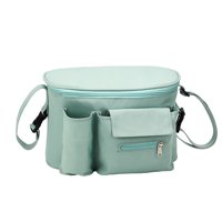 Waterproof Baby Stroller Storage Bag Cup Bottle Feed Holder Mummy Pram Pushchair Organizer, Black / Green