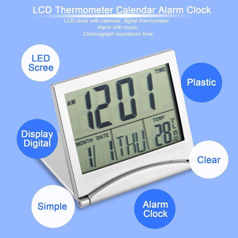 Digital LCD Display Thermometer Calendar Alarm Clock Flexible Cover Desk Clock by