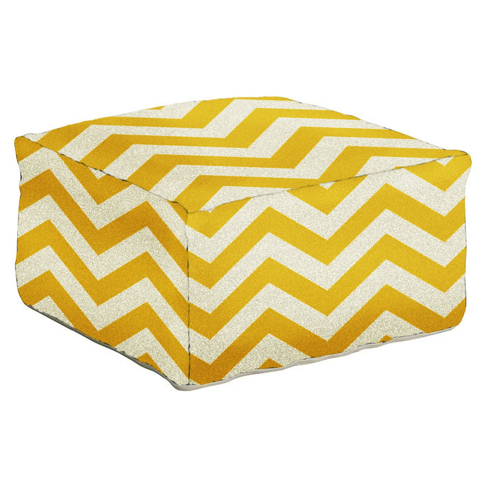 Surya 24 in. Zig-Zag Square Wool Pouf