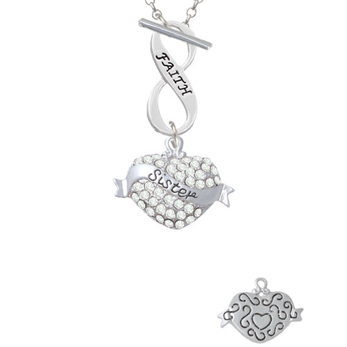Sister Banner on Clear Crystal Heart Faith Infinity Toggle Chain Necklace