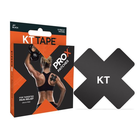 Pro X Kinesiology Therapeutic Tape  Elastic Sport Patches  15 Pack  Jet Black By Kt Tape