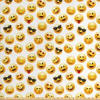 Emoji Fabric by the Yard, Smiley Face Character Illustration Feeling Happy Surprised Cool and in Love, Decorative Fabric for Upholstery and Home Accents, 1 Yard, Yellow Red Black, by Ambesonne