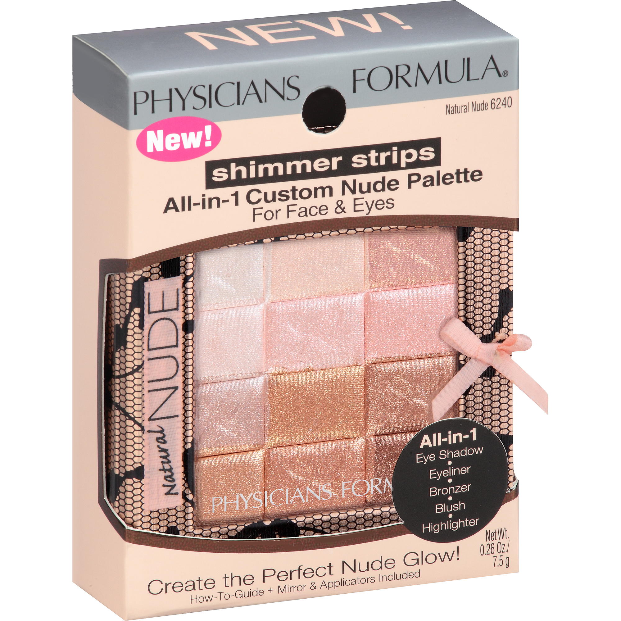 Physicians Formula Shimmer Strips All-in-One Custom Palette for Face & Eyes, 6240 Natural Nude, 0.26 oz