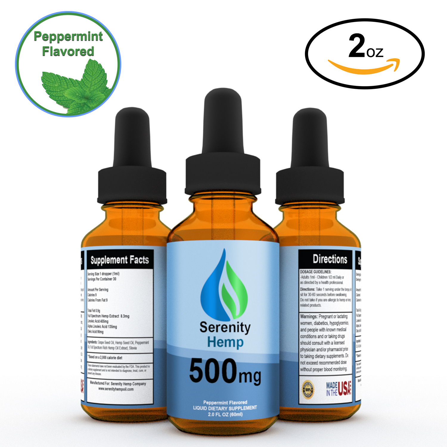 500 mg Peppermint Serenity Hemp Oil - 2 fl oz - 99% Pure Hemp Oil Extract - Ease Pain, Anxiety, Stress, Sleep Problems, Inflammation