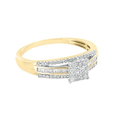 Women Wedding Solitaire Ring Womens Engagement 10k Yellow Gold 0.32ct Real (Gold Ladies Diamond Solitaire)