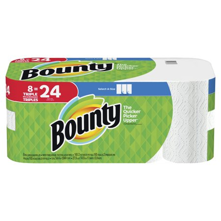 Bounty Paper Towels, Select-A-Size, 8 Triple Rolls for $<!---->