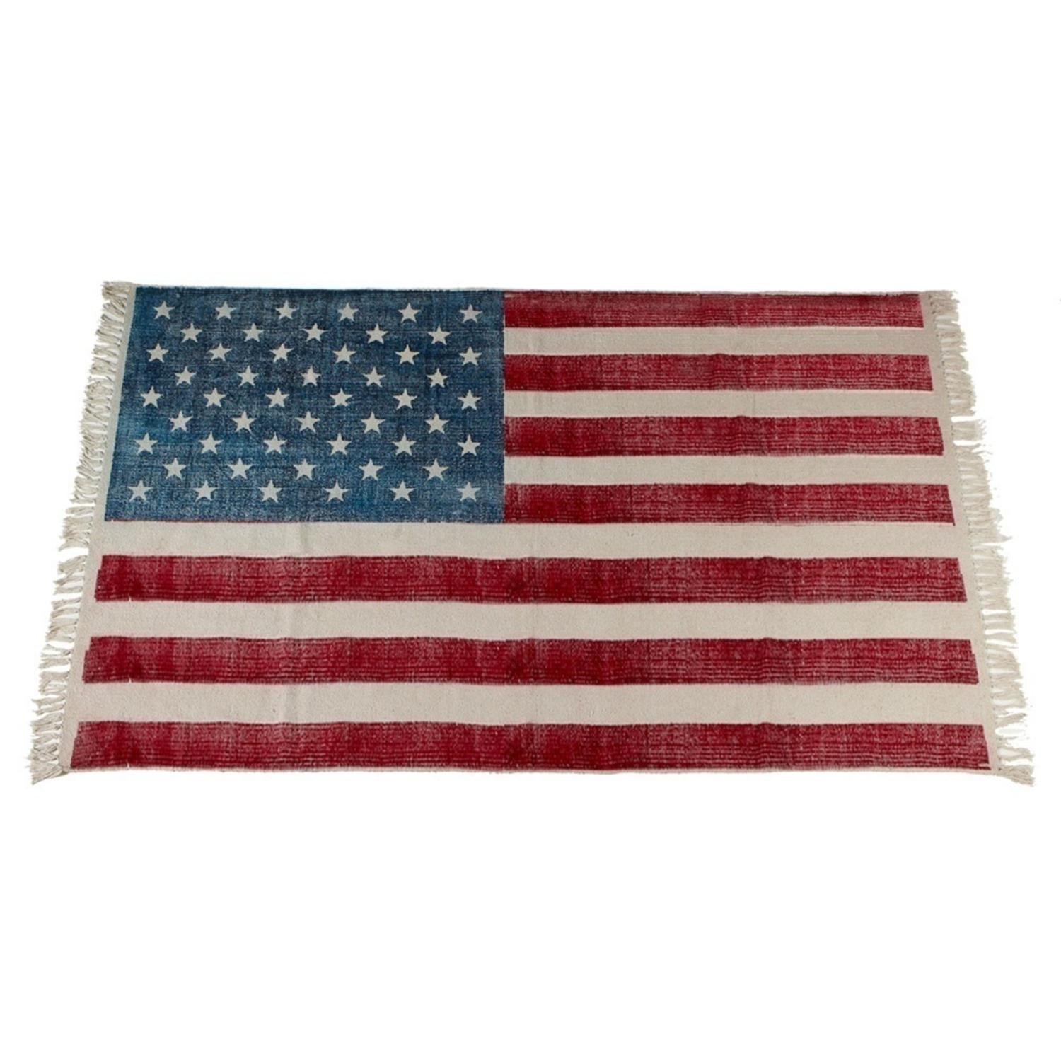 3' x 5' Red, White and Blue American Flag Printed Wall Hanging Rectangular Rug with Fringes