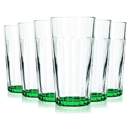 Green Libbey Jumbo Cooler Glass with Beautiful Colored Accent with 16 oz Capacity - Set of 6 - Additional Vibrant Colors Available by TableTop King  - Green Cocktail Glasses