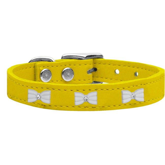 White Bow Widget Genuine Leather Dog Collar Yellow 14 - image 1 of 1
