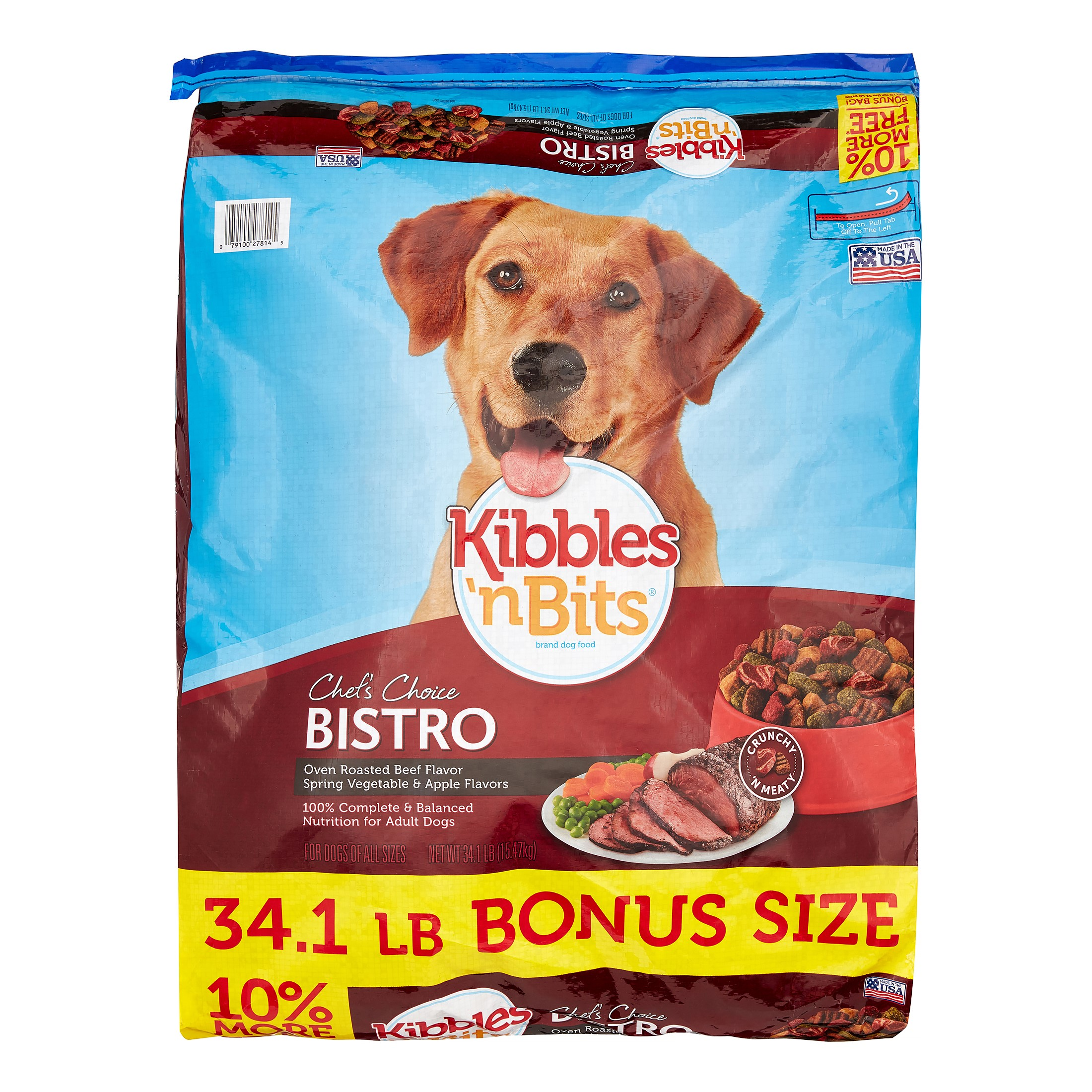 Kibbles 'n Bits Bistro Roasted Beef Flavor, Spring Vegetable & Apple Bonus Bag Dry Dog Food, 34.1 Lb