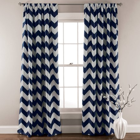 Chevron Blackout Navy Window Curtain Set Of 2 Walmart Com