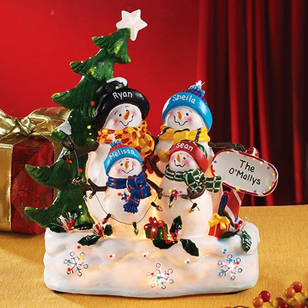 personalized fiber optic snowman family 4 kids