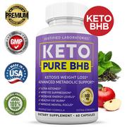 Keto Pure BHB Pills Advanced Real BHB Boost Ketogenic Supplement Exogenous Ketones for Men Women 60 Capsules 1 Bottle