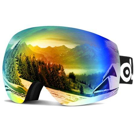 Spherical Series Goggles - Odoland Large Spherical Frameless Ski Goggles for Men Women S2 OTG Double Lens UV400 Protection Anti-Fogging