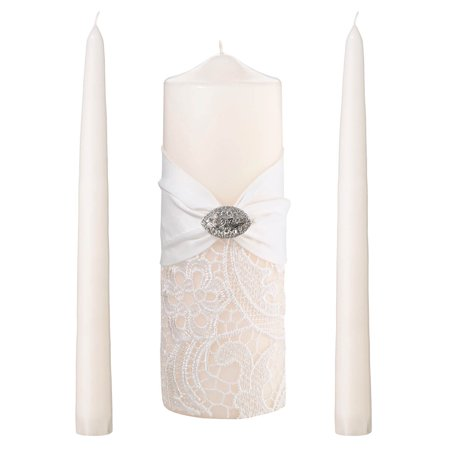 Cream Lace Unity Candle Set