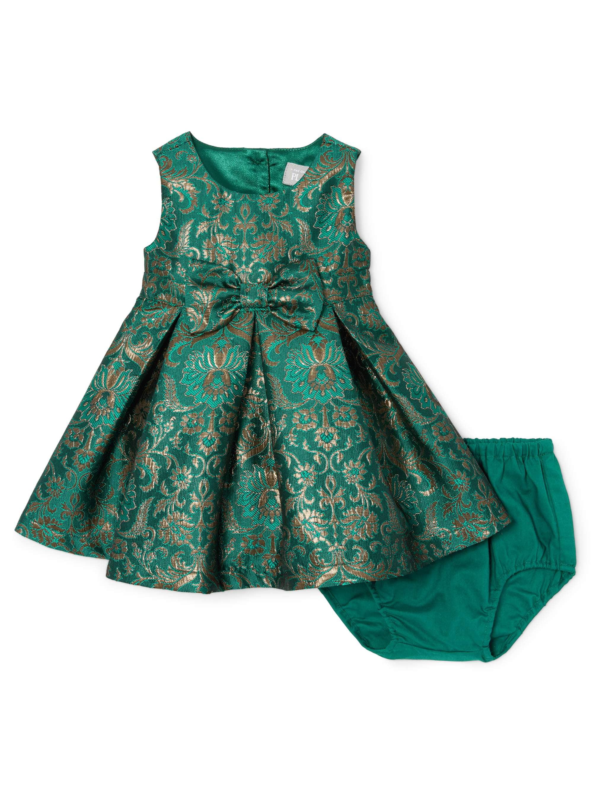 Baby Girl Green Jacquard Dress