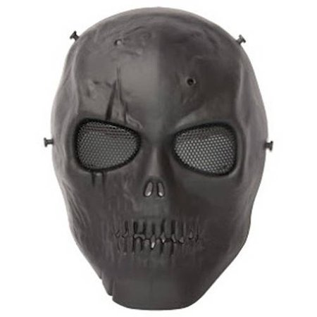 ALEKO PBSSM19BK Skull Skeleton Mask With Wire Mesh Goggles Paintball Protective Safety Mask, Black ()