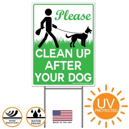 Vibe Ink 9 x 12 Please Clean Up After Your Dog - No Pooping Dog Lawn Signs with Metal Wire H-Stakes Stands Included No Dog Pooping