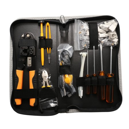 Network Tool Kits Professional- Net Computer Maintenance 9 in 1 Repair Tools, 8P8C RJ45 Connectors, Crimp Pliers, stripping pliers Tool Set – Network Cable Maker kit – Carrying