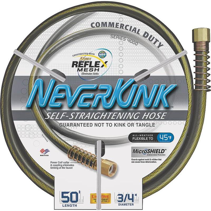 "50' Neverkink Commercial Garden Hose w Solid Brass Fittings, 3 4"" ID Garden Hose by Teknor Apex"