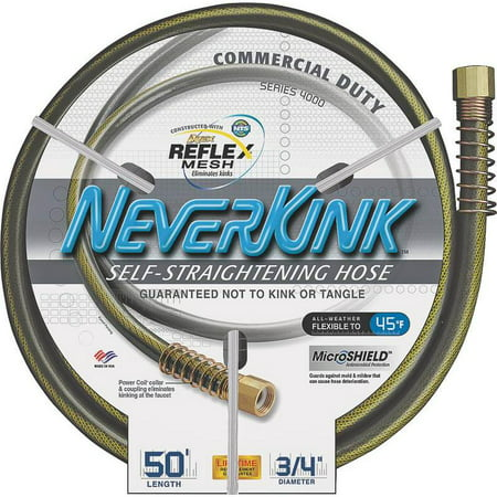 50' Neverkink Commercial Garden Hose w/Solid Brass Fittings, 3/4
