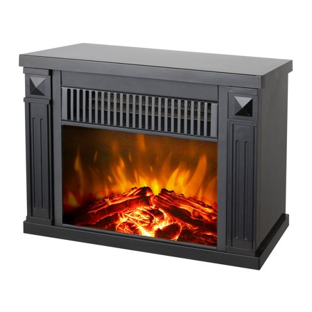 Faux Tabletops - Konwin Small Electric Tabletop Artificial Faux Fireplace Space Heater, Black