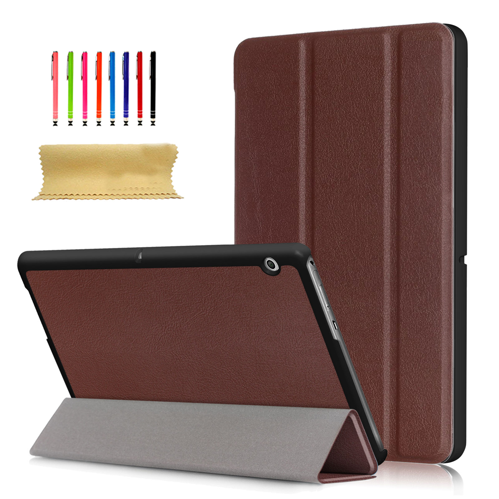 Huawei MediaPad T3 10.0 Inch Case, Goodest Slim Tri-fold Stand Case with Multi-angle Viewing PU Leather Hard Shell Case for Huawei MediaPad T3 10.0 Inch Android Tablet, Brown