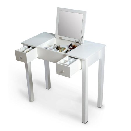 Organizedlife White Vanity Table Jewelry Storage Makeup Desk With