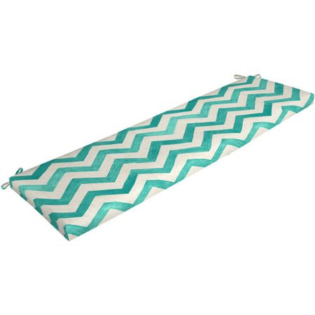 Mainstays Teal Chevron 17 L X 46 W 3 H Outdoor Patio Bench Cushion