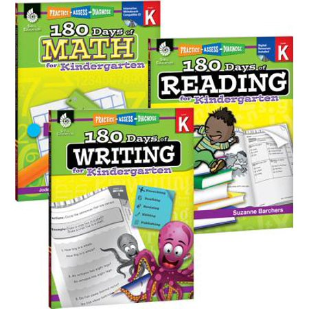 180 Days of Reading, Writing and Math for Kindergarten 3-Book Set for $<!---->