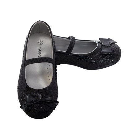 L'Amour Black Glitter Bow Strap Ballet Slipper Shoe Toddler Girl 5-10 - Glitter Shoes Girls