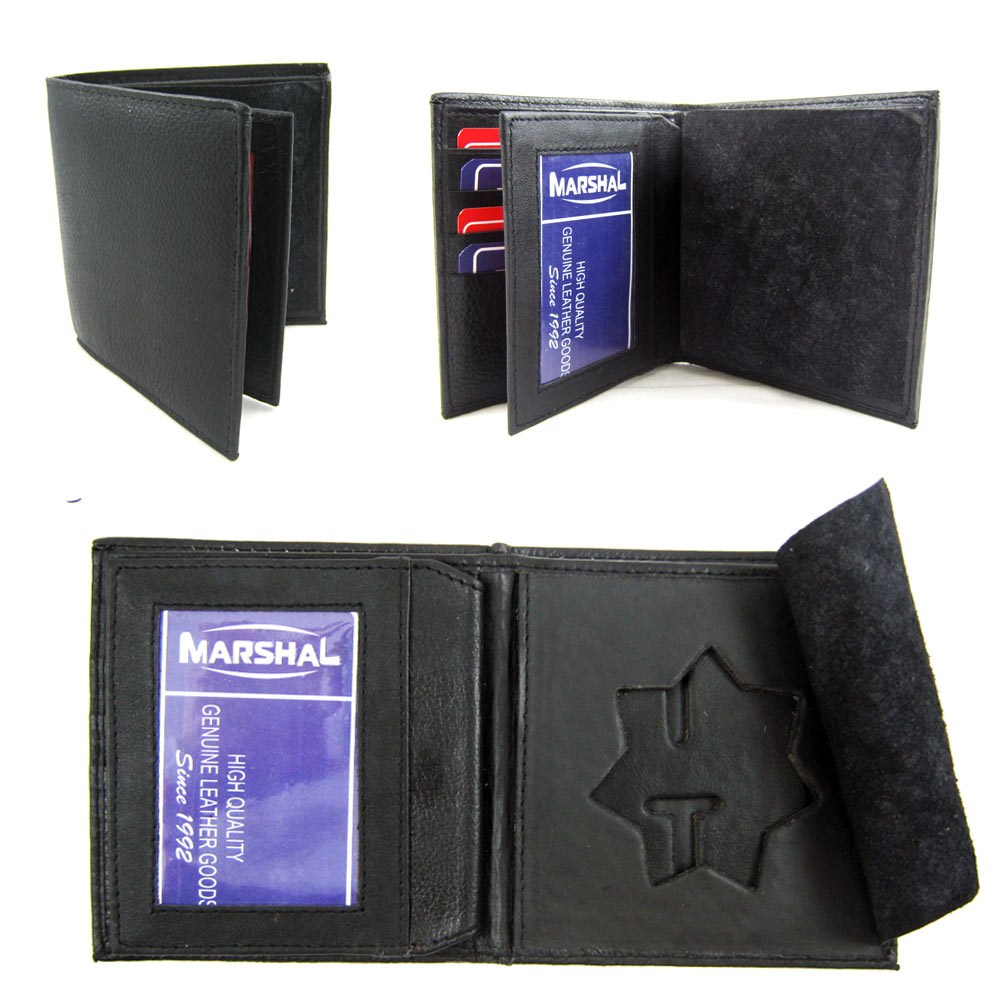 Police Star Shield Id Wallet Leather Badge Holder Sherrif Officer Black Card Id