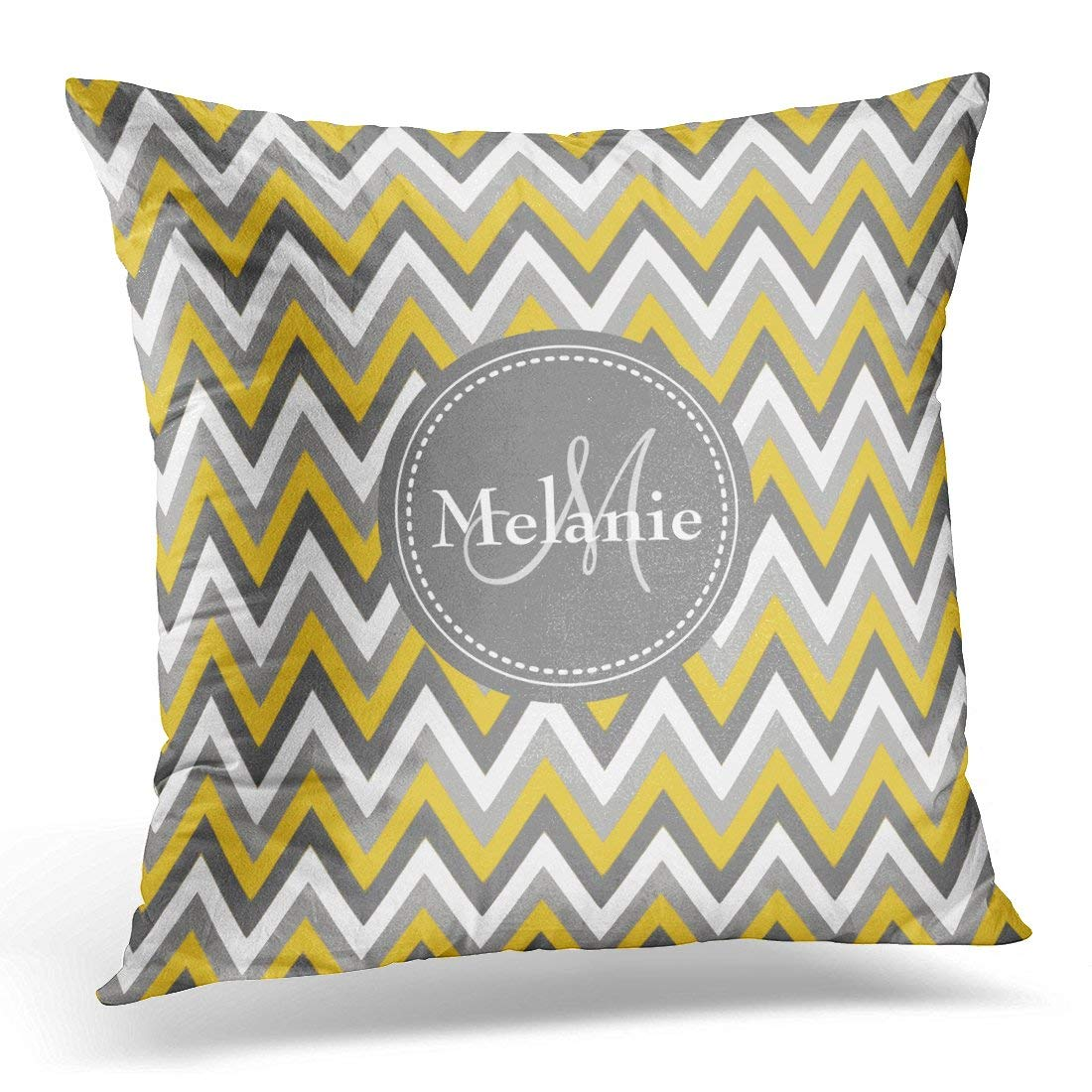 BPBOP Gray Zigzags Monogrammed Yellow Chevron Pattern Tribal Pillowcase Cushion Cover 16x16 inches