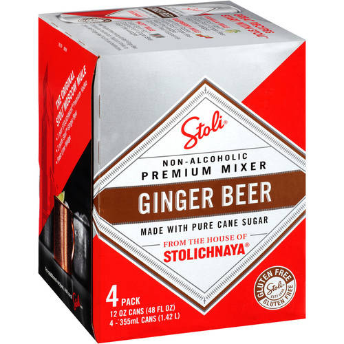 Stoli Ginger Beer Non-Alcoholic Premium Mixer, 4 pack, 12 fl oz