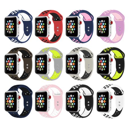 Silicone Sport Band for Apple Watch Band 38mm 40mm 42mm 44mm, Replacement Strap Band Compatible for iWatch Series 1-4 (19-Colors)