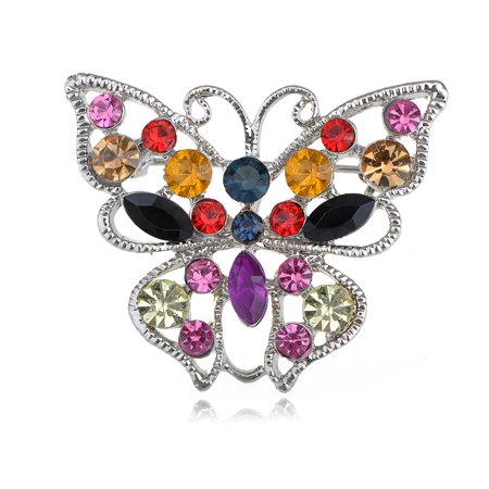 Vivid Ruby Green Black Colorful Crystal Rhinestone Butterfly Fashion Pin Brooch