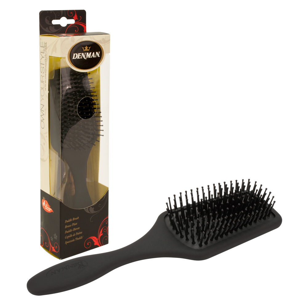 Denman Small Black Cushioned Rubber Paddle Hair Brush D84, BLACK, P084SXCD
