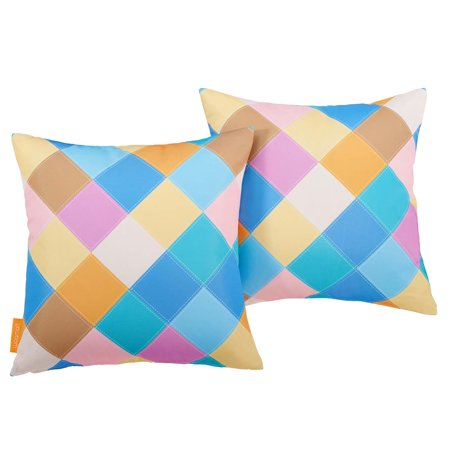 Modern Contemporary Urban Design Outdoor Patio Balcony Garden Furniture Pillow Throw, Set of Two, Fabric, Multi Color ()