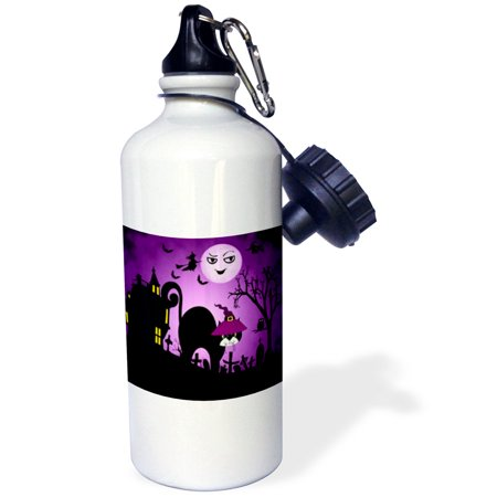 3dRose Black Cat in a Witches Hat a Laughing Moon Purple and Black Halloween, Sports Water Bottle, 21oz ()