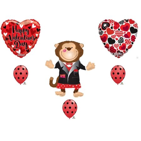 Monkey Valentine's Day Balloon Bouquet Party Balloons Decoration Supplies Love (Valentine Supply)