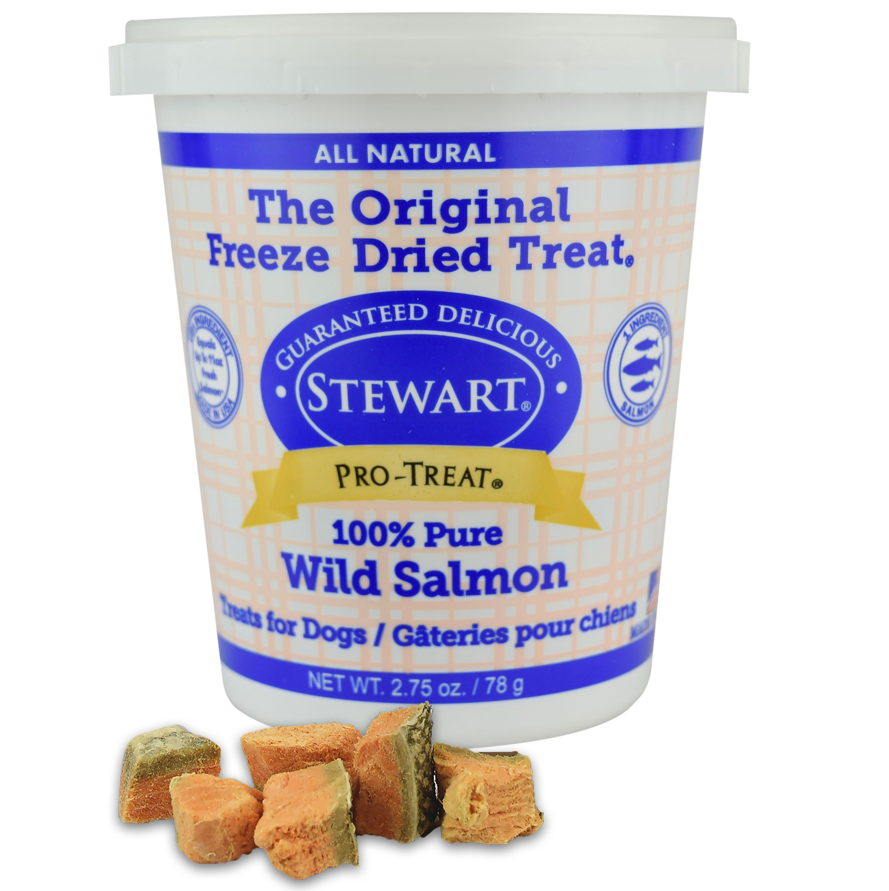Stewart Freeze Dried Wild Salmon Dog Treats by Pro-Treat, 2.75 oz. Tub